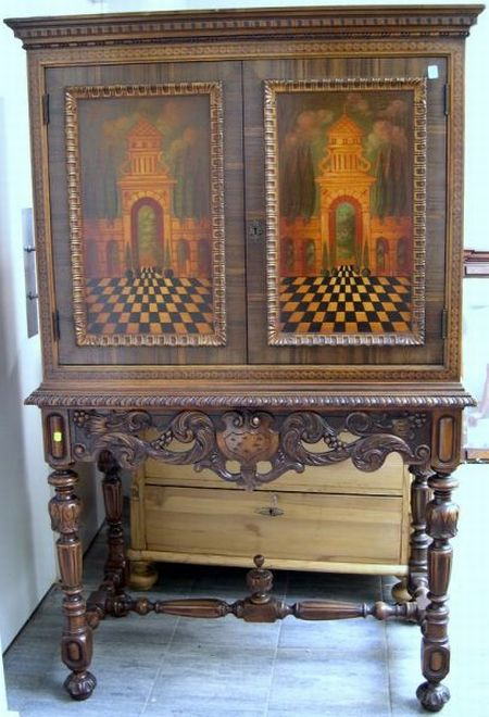 Berkey & Gay Furniture Jacobean-style Inlaid and Paint Decorated Two-Door ...