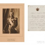Tsar Nicholas II Autograph Letter and Photogravure (Lot 536, Estimate $2,000-  $3,000)
