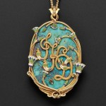 The back of this gold, turquoise, and enamel pendant necklace by Marcus & Co. shows the firm's signature. (Lot 587, Estimate $8,000-$12,000)