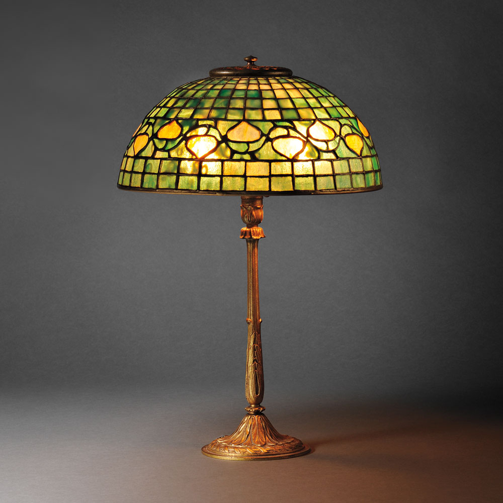 Tiffany Studios Louis XVI Desk Lamp with Acorn Shade, Patinated bronze, art glass, New York, early 20th century (Lot 20, Estimate $6,000-$8,000)