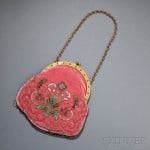 Glass and Steel-beaded velvet purse with goldtone hardware, Probably France, circa 1900