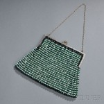 Green and Gray-beaded evening bag with silver hardware, Probably France, 1925-1935