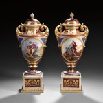 Pair of Vienna Porcelain Vases and Covers (Lot 634, Estimate $1,200-$1,800)