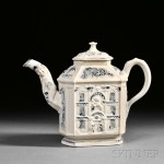 Staffordshire Salt Glazed Stoneware House Teapot and Cover, estimate $1,500-$2,500