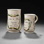 Two Staffordshire Enameled Salt Glazed Stoneware Commemorative Tankards, estimate $3,000-5,000