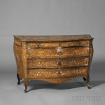 Italian Rococo Inlaid Walnut Chest of Drawers, (Lot 63, Estimate $4,000-$6,000)
