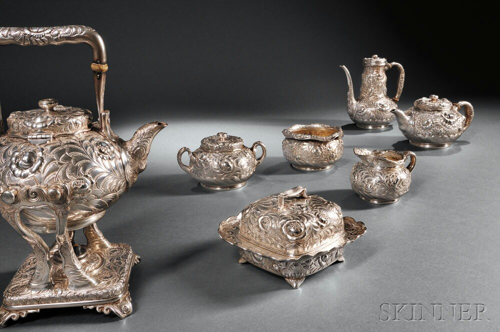 Seven-piece Tiffany & Co. Sterling Silver Tea and Coffee Service, New York, 1873-91 (Lot 132, Estimate $20,000-$30,000)