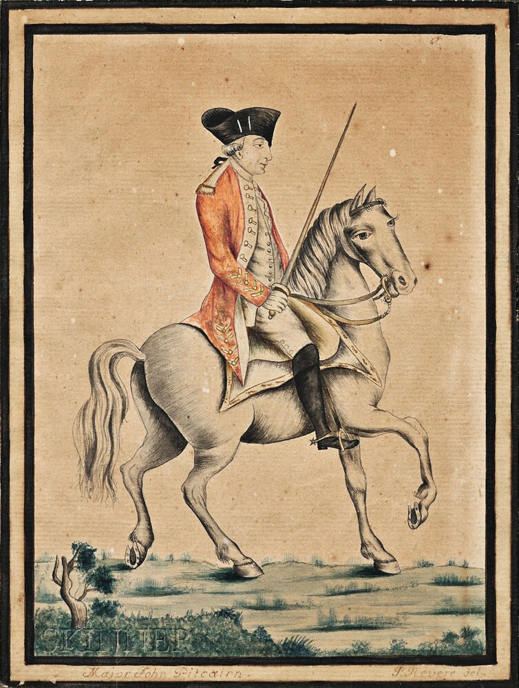 Paul Revere, Jr. (Boston, 1734-1818) Portrait of Major John Pitcairn on Horseback (Lot 76, Estimate $20,000-$30,000)