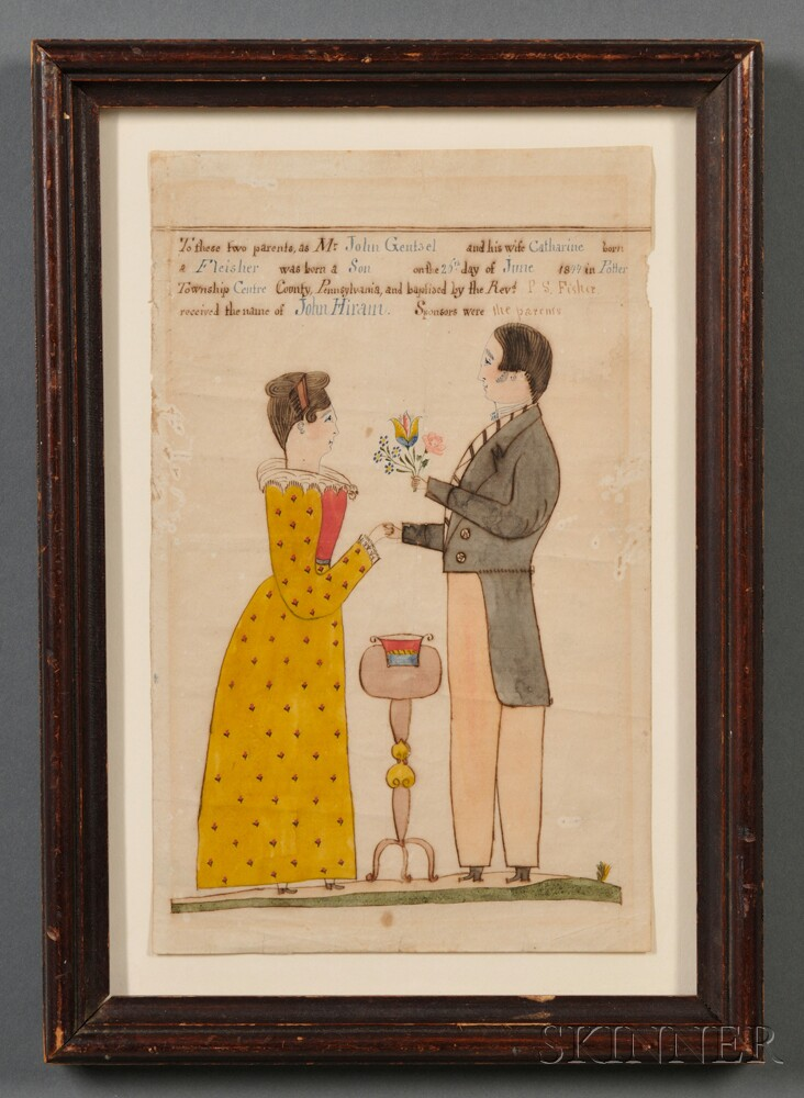 Framed Fraktur Birth Certificate, by Rev. Henry Young (American, 1792-1861), Centre County, Pennsylvania, 1844