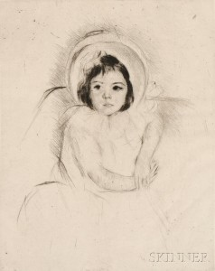 Mary Cassatt (American, 1844-1926) Margot Wearing a   Bonnet (No. 5), c. 1902 (Lot 25, Estimate $15,000-  $25,000)