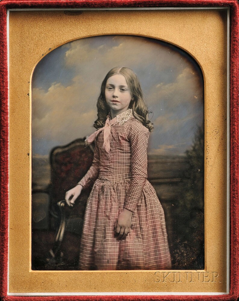 William Edward Kilburn (British, 1818-1891) Hand-tinted   Quarter-plate Daguerreotype of a Girl (Lot 87, Estimate   $1,500-$2,000)