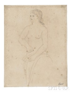 Pablo Picasso (Spanish, 1881-1973), Femme retenant son   peignoir, c. 1923 (Lot 601, Estimate $30,000-$50,000)