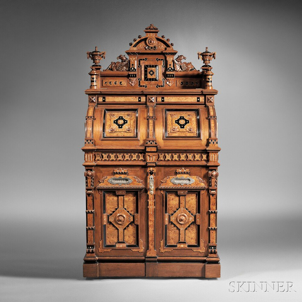 Wooton Renaissance Revival Walnut and Bird's-eye Maple Superior Grade Cabinet Secretary (Lot 319, $20,000-$40,000)