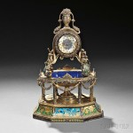 Continental Silver, Gilt-metal, Enamel, and Jeweled Fountain-form Clock, 19th/20th century (Lot 165, Estimate $4,000-$6,000)