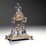 Viennese Silver, Enamel, Lapis Lazuli, Beaded Pearl, and Jeweled Clock, Austria, late 19th century (Lot 170, Estimate $5,000-$7,000)