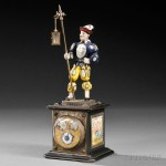 Viennese Silver, Enamel, and Freshwater Pearl Figural Clock, Austria, late 19th century (Lot 178, Estimate $2,000-$3,000)