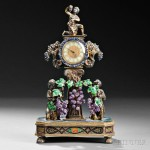 Viennese Silver, Enamel, Lapis, and Amethyst Figural Clock, Austria, late 19th century (Lot 200, Estimate $3,000-$5,000)