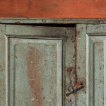 Blue- and Salmon-painted Slant-back Cupboard, possibly Long Island, New York,   18th century (Lot 325, Estimate $1,500-$2,500)