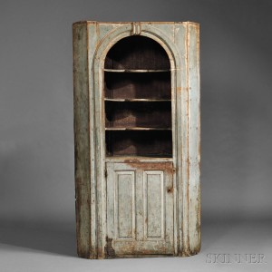 Blue-painted Pine Corner Cupboard, probably New Hampshire, mid-  18th century (Lot 308, Estimate $20,000-$30,000)