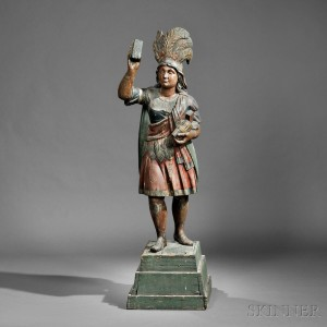Polychrome Carved Indian Princess Tobacconist Figure, Samuel   Robb, New York, late 19th century (Lot 506, Estimate $40,000-  $60,000)