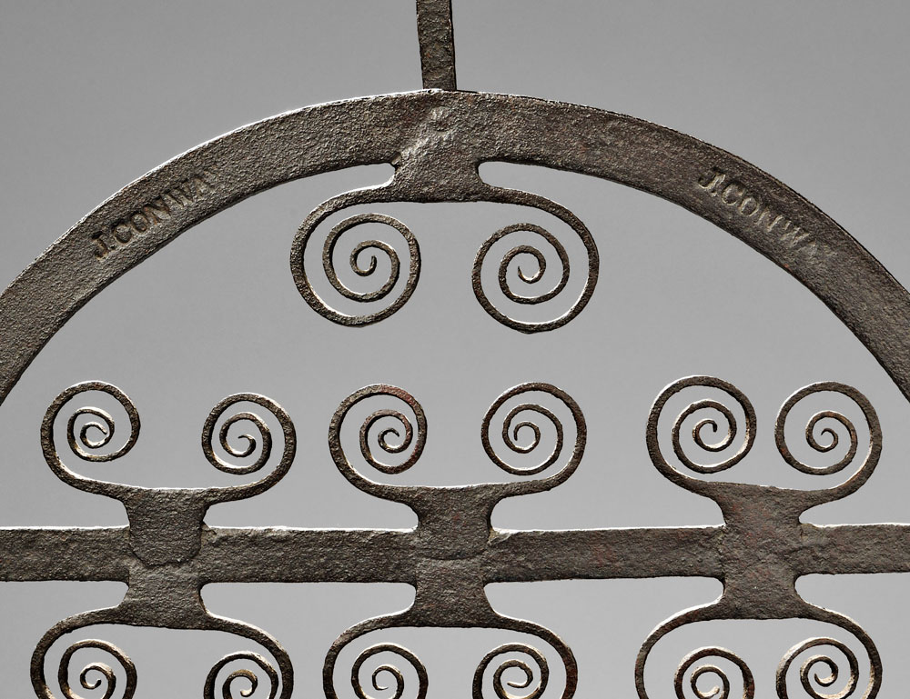 [Detail]  Sold for $6,150. Wrought Iron Standing Broiler, America, late 18th/early 19th   century