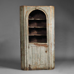 Blue-painted Pine Corner Cupboard, probably New Hampshire, mid- 18th century