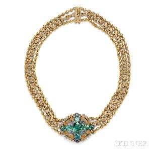 Sold for $54,120. Arts & Crafts 18kt Gold, Tourmaline, and Sapphire Necklace, Tiffany & Co.