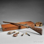 Cased English Westley Richards Twelve-gauge Percussion Shotgun, c. mid to late-19th century (Lot 184, $5,000-$7,000)