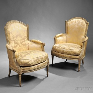 Pair of Louis XVI Painted and Upholstered Bergeres, Paris, c. 1770 (Lot 290)
