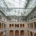 The Harvard Art Museums, during renovation and expansion, showing the Calderwood Courtyard and the new glass roof (January 30, 2014). Photo: Peter Vanderwarker.