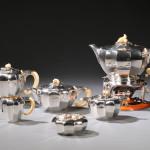 Six-piece Jean Puiforcat .950 Silver Tea and Coffee Service, Paris, c. 1925 (Estimate $12,000-$18,000)