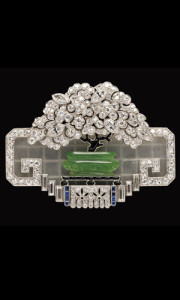 Art deco diamond and gem-set brooch, J.E. Caldwell & Co (sold for $46,800)