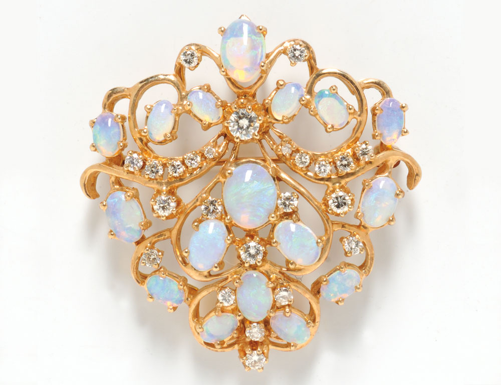 14kt Gold, Diamond, and Opal Brooch (Lot  1107, Estimate $250-$350)