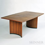 Mid-century Teak Dining Table and Two Chairs (Lot 135, Estimate $400-$600)