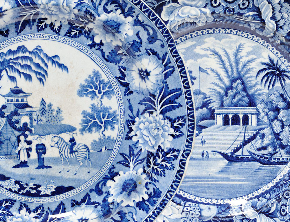 18 Staffordshire Blue Printed Dishes (Estimate $400-$600)