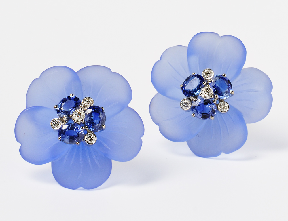 18kt White Gold, Dyed Blue Chalcedony, Sapphire and Diamond Earclips, Aletto Bros. (Lot 1177, Estimate $3,000-$5,000)