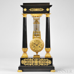 Ebonized Two-column Inverted Swinging Clock, France, c. 1830 (Lot 145, Estimate $4,000-$6,000)