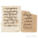 Two Arabic Calligraphy Manuscripts, North Africa or Near East, 12th to 14th century (Lot 21, Estimate $2,000-$3,000)