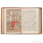 Dutch Manuscript Prayerbook with Three Hand-Colored Woodcuts, Late-15th Century. (Estimate $2,000-$2,500)