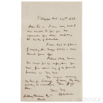 Melville, Herman (1819-1891) Autograph Letter Signed, Pittsfield, Massachusetts, 29 October 1858. (Estimate $2,000-$3,000)