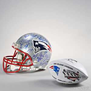 New England Patriots Signed Football and Helmet, Riddel helmet signed by members of 2003/2004 New England Patriots (Lot 1054, Estimate $2,000-$2,500)