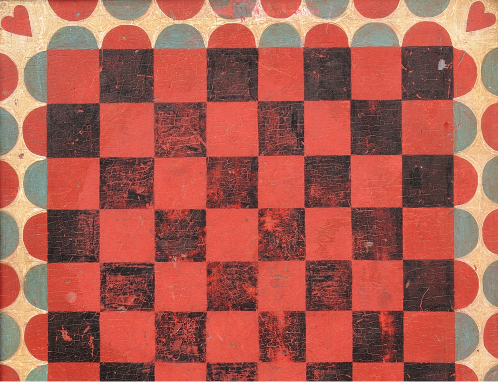 Paint-decorated Checkerboard, New England, 19th century  (Estimate $1,200-$1,500)