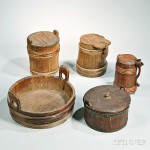 Buckets were used to draw water, such as from a well. Five Staved Wooden Containers (Lot 1132, Estimate $400-$600)