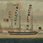 [Detail] American School, Early 19th Century  Portrait of the Packet Ship Emerald off Liverpool (Lot 182, Estimate $20,0000-$30,000)