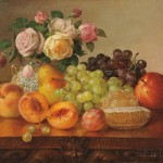Robert Spear Dunning (American, 1829-1905) Still Life with Fruit, Roses, and Honeycomb (Lot 355, Estimate $35,000-$55,000)