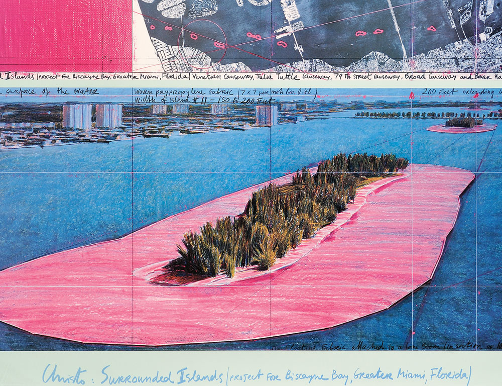 Christo and Jeanne-Claude  Christo:  Surrounded Island (Project for Biscayne Bay, Greater Miami, Florida), 1983 (Lot 1027, Estimate $800-$1,200)