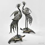 Pair of Parcel-gilt Bronze Phoenixes, Japan, Muroe Kichibe (1841-1903) (Lot 231, Estimate $8,000-$10,000)