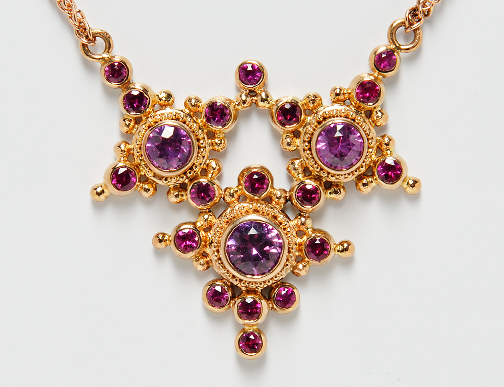 Zaffiro 18kt Rose Gold Necklace and 14kt White Gold and Pink Sapphire Band (Estimate, $500-$700)