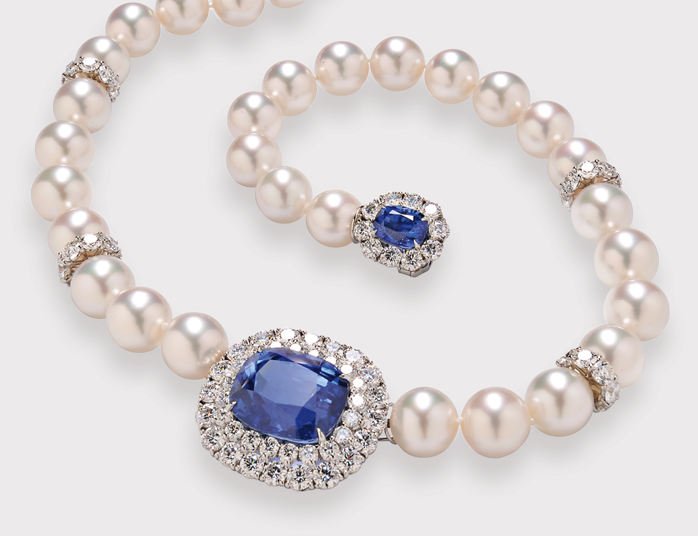 Fine Sapphire, South Sea Pearl, and Diamond Necklace, Cartier (Lot 647, Estimate $125,000-$150,000)