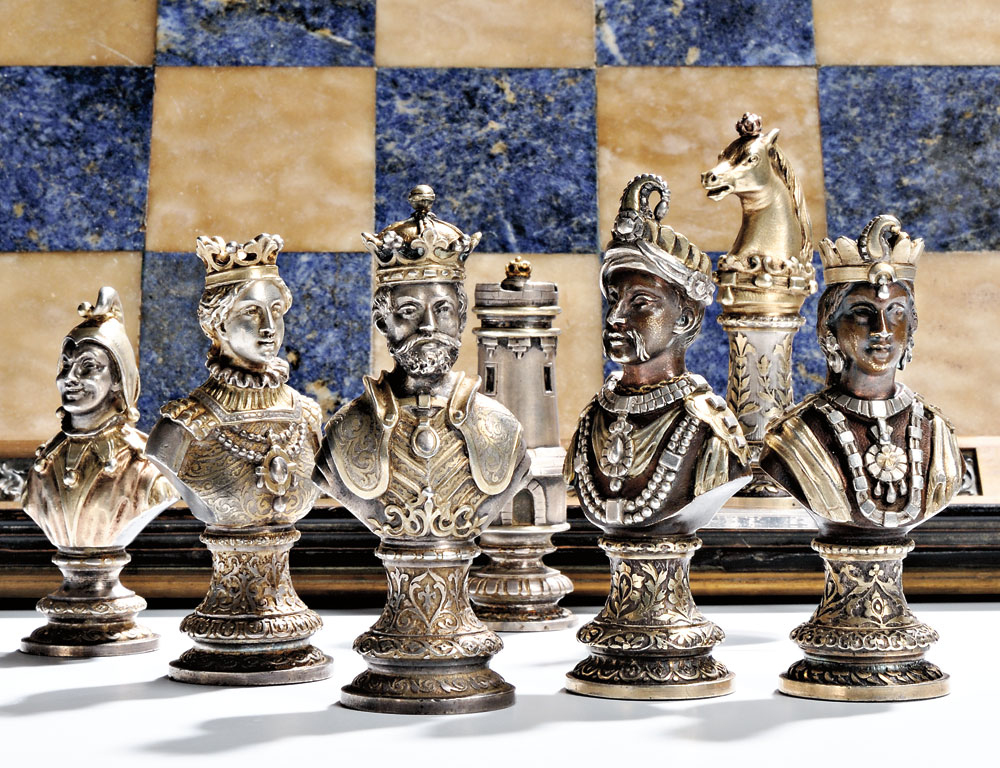 French .800 Silver and Parcel-gilt Chess Set, late 19th/early 20th century (Lot 60, Estimate $8,000-$12,000)